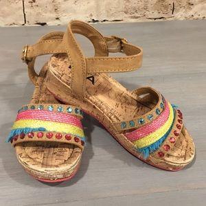 💝Mia Kids Girls Cork Rhinestone Fringe Sandals